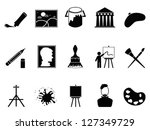 artist icons set - stock vector