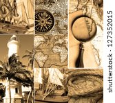 Marine collage with old compasses and maps. Sepia color - stock photo