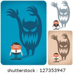 fear  man haunted by his shadow.... | Shutterstock .eps vector #127353947