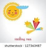 editable vector smiling sun and ... | Shutterstock .eps vector #127363487