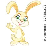 smiling bunny waving with his... | Shutterstock .eps vector #127381673