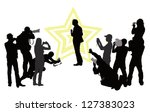 group of people with camera and ... | Shutterstock .eps vector #127383023