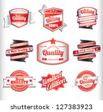 red and white premium quality... | Shutterstock .eps vector #127383923