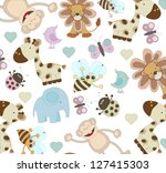 cute animal seamless pattern | Shutterstock .eps vector #127415303