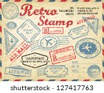 retro post stamp. passport... | Shutterstock .eps vector #127417763