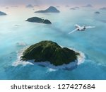 aircraft flies over a sea - stock photo