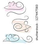 set of cute doodle mice | Shutterstock .eps vector #127447583