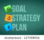 goal policy strategy plan, illustration design over white - stock photo