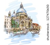 Venice - Cathedral of Santa Maria della Salute - vector sketch. Eps10 - stock vector