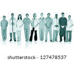 happy team of doctors standing... | Shutterstock . vector #127478537