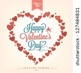 Happy Valentine's Day Background With Hearts - stock vector