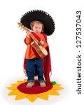one small little girl wearing... | Shutterstock . vector #127537043