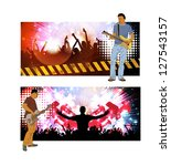 crowd cheering at the music... | Shutterstock . vector #127543157
