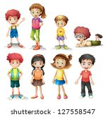 illustration of a group of kids ... | Shutterstock . vector #127558547