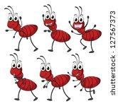 illustration of smiling ants on ... | Shutterstock . vector #127567373