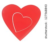 two read hearts isolated on... | Shutterstock . vector #127568843