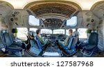 ROCKFORD, IL- JUNE 2: United States Air Force Boeing C-17 Globemaster III cockpit on display at the Rockford AirFest. The C-17 is a large military transport aircraft, June 2, 2012 in Rockford, IL - stock photo