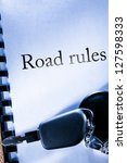 road rules and car key | Shutterstock . vector #127598333