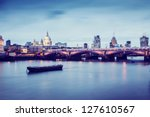 blackfriars bridge in london at ... | Shutterstock . vector #127610567