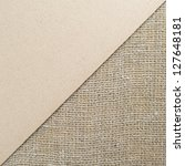 Cardboard and burlap background, divided diagonally - stock photo