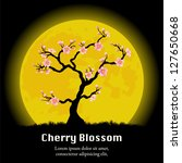 Cherry Blossom tree in front of the yellow Moon. Vector - stock vector