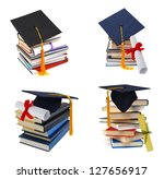 collection grad hat and diploma ... | Shutterstock . vector #127656917