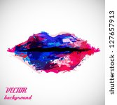 Woman Lips Close Up, Created By Abstract Blots Isolated On Gray Background - Vector Illustration, Graphic Design Editable For Your Design