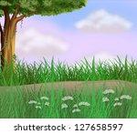 illustration of grasses along... | Shutterstock .eps vector #127658597