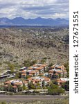 Warm Winter Day in Greater Phoenix Mountain Housing Community, Arizona - stock photo