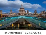 A view of St Paul's from the milenium bridge - stock photo