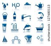 water icon set | Shutterstock .eps vector #127680113
