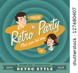 retro party poster | Shutterstock .eps vector #127680407