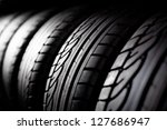 Tire Stack Background. ...