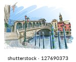 Venice - Grand Canal. View of the Rialto Bridge. Vector drawing. Eps10 - stock vector