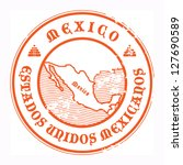 Grunge rubber stamp with the name and map of Mexico, vector illustration - stock vector
