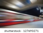 Abstract red wagon underground speed motion - stock photo