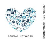 i love social media   social... | Shutterstock .eps vector #127708007