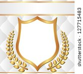 white and gold background with laurel wreath and transparent space insert shield for picture - stock vector