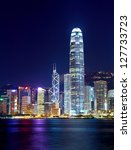 Hong Kong city at night - stock photo