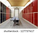sportsmen locker room with bench | Shutterstock . vector #127737617