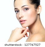 beauty face of young woman.... | Shutterstock . vector #127767527