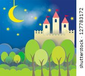 Fantasy Castle cardboard card in midnight background, create by vector - stock vector