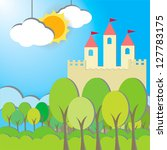 Fantasy Castle cardboard card in morning background, create by vector - stock vector