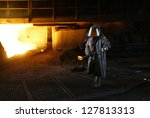 kosice   april 25   workers in... | Shutterstock . vector #127813313