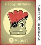 happy birthday card with cute... | Shutterstock .eps vector #127835843