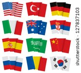 Isolated raster version of vector set of world flags (contain the Clipping Path of all objects) - stock photo