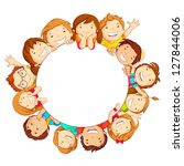 vector illustration of happy kids around circular copy space - stock vector