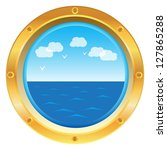 Vector golden yellow porthole window with sea view on white background - stock vector