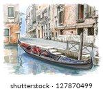 Venice - Calle Fondamenta Megio. Ancient building & gondola. Vector sketch. Eps10 - stock vector