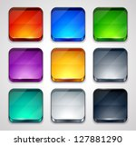 Colored glossy apps icons set. Vector illustration. - stock vector